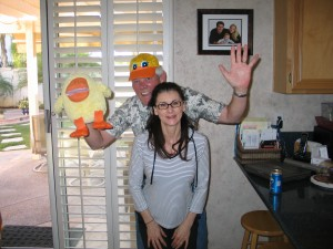 My Goofy Brother, Chris and His Gorgeous and Wonderful Wife, Carol with Jim's Duck