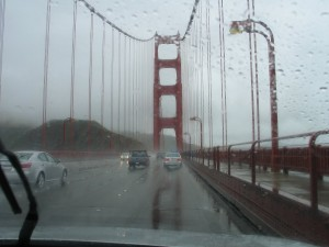 Crossing the Golden Gate Bridge in the rain
