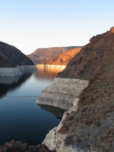 The water behind the Hoover Dam in the early evening