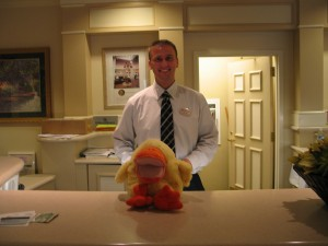 Sometimes it really amazes me how much hotel clerks enjoy posing with Jim's Duck. This is the guy in Portland